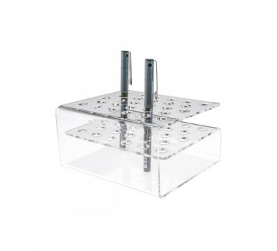 Stiftehalter aus Plexiglass, transparent, mit 28 Plätzen