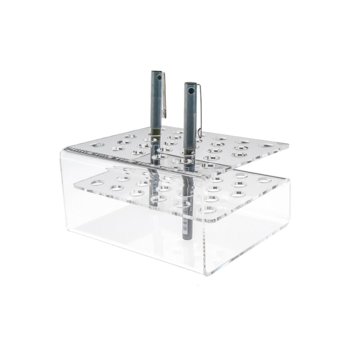 E-130 EPE - Portapenne in plexiglass trasparente a 28 postazioni - Misura: 16x13x H8 cm