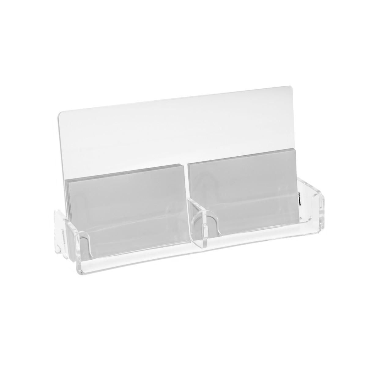 E-131 PVD - Porta biglietti da visita in plexiglass trasparente a 2 scomparti