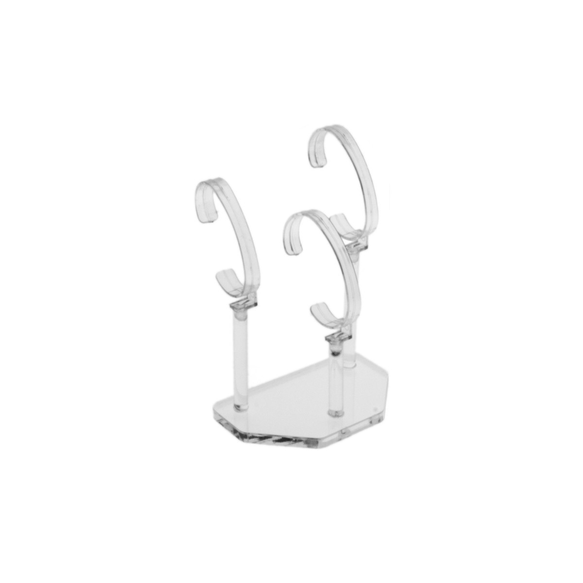 Clear Acrylic wrist watch display holder stand, for 3 bracelet watches