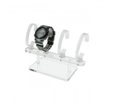 Clear wrist watch display holder stand, for 4 bracelet watches