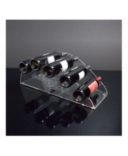 E-175 PBT-A - Portabottiglie in plexiglass trasparente da banco per 5 bottiglie - Misure: 54 x 20 x H20 cm