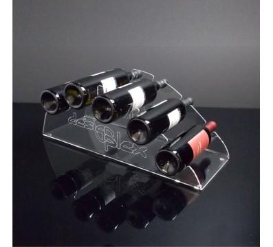 5-bottle Clear Acrylic countertop wine rack