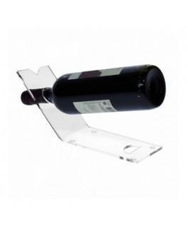 E-175 PBT-B - Portabottiglie in plexiglass trasparente da banco per 1 bottiglia - CM(LxPxH): 28x8x11