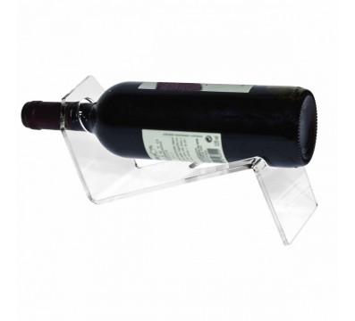 Portabottiglie in plexiglass trasparente da banco per 1 bottiglia - CM(LxPxH): 29x10x10