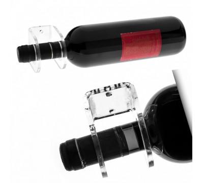 E-175 PBT-D - Portabottiglie in plexiglass trasparente da parete per 1 bottiglia - Misure: 6,5 x 6 x H7,5 cm