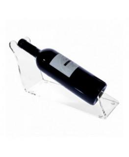 E-175 PBT-F - Portabottiglie in plexiglass trasparente da banco per 1 bottiglia - Misure: 10 x 32 x H14 cm