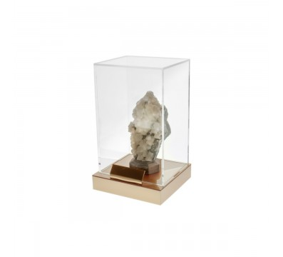 Clear acrylic display case with coloured shelf