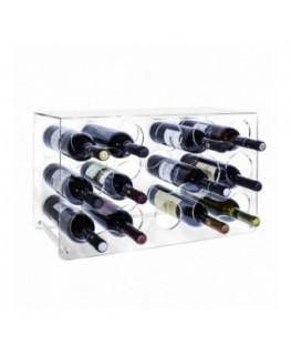 E-204 PBT - Portabottiglie in plexiglass trasparente per 15 bottiglie