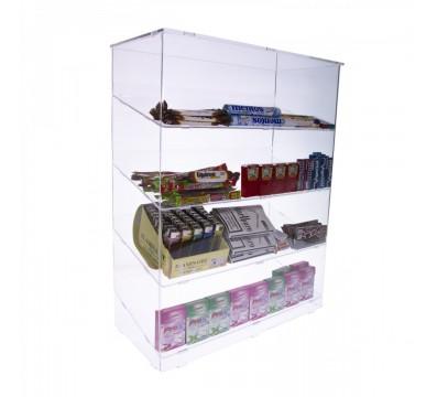 Espositore porta accendini in plexiglass trasparente a 4 ripiani inclinati - Misure: 45 x 20 x H58 cm