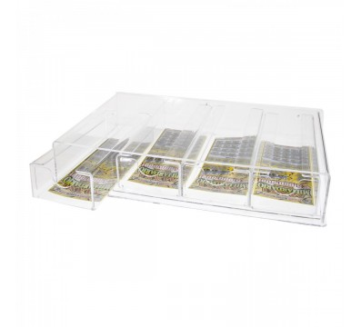 Clear acrylic countertop scratch card holder – 5 Compartments