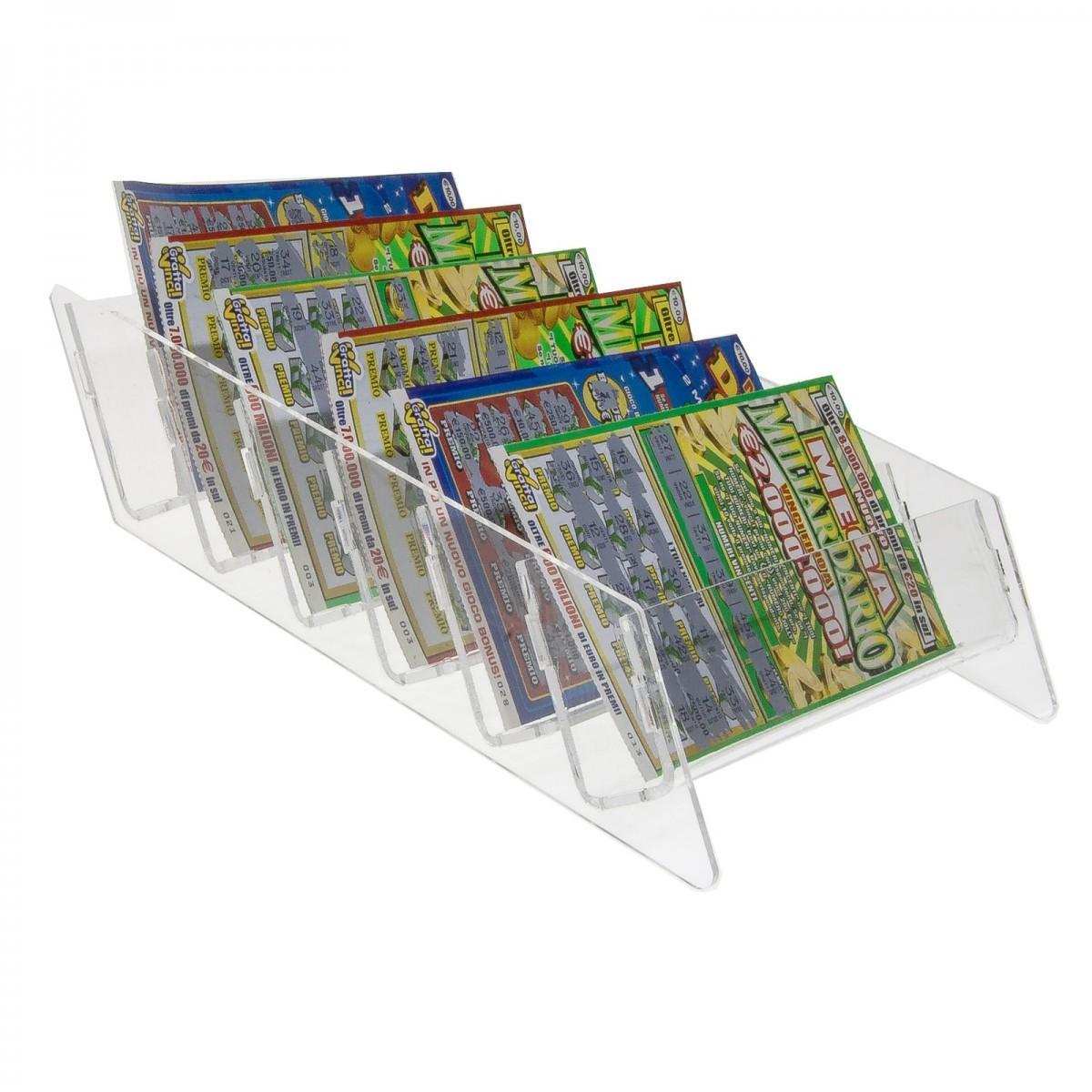 E-214 EGV - Espositore schedine e gratta e vinci da banco in plexiglass trasparente a 6 tasche - Misure: 23 x 28 x H6 cm