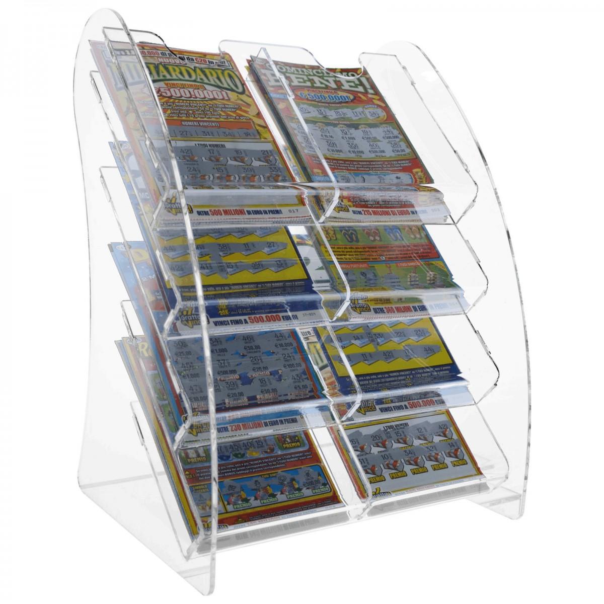 E-216 EGV - Espositore schedine e gratta e vinci da banco in plexiglass trasparente a 8 scomparti