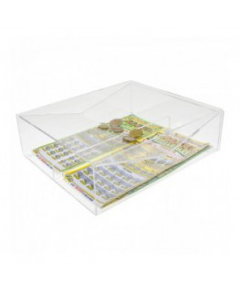Clear acrylic countertop scratch card holder with 2...