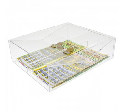 Clear acrylic countertop scratch card holder with 2 compartments and a cash tray