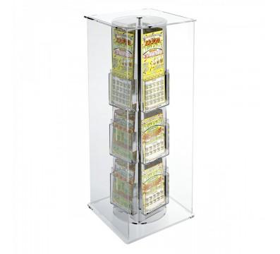 Espositore schedine e gratta e vinci da banco girevole in plexiglass trasparente a 12 scomparti