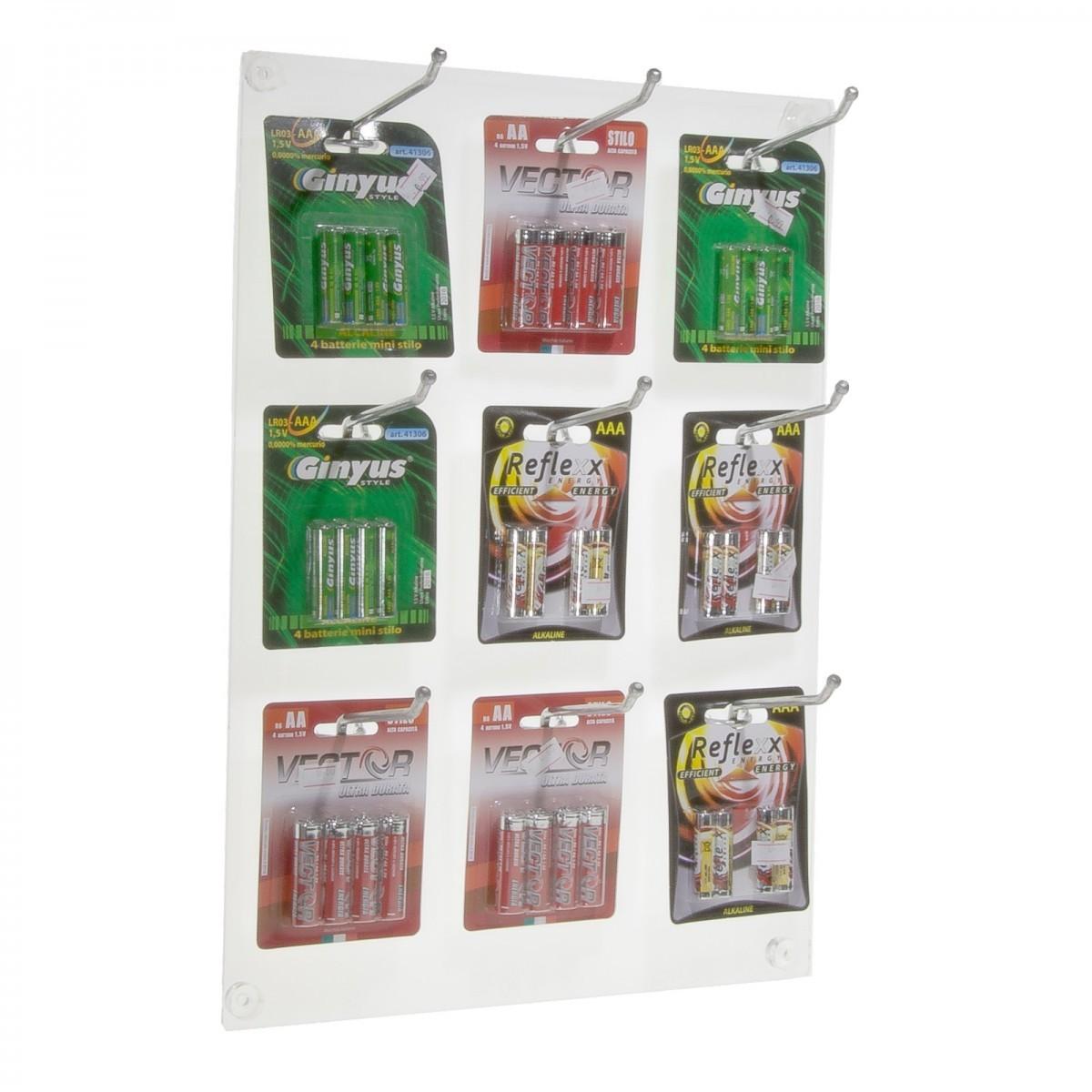 E-221 BEB - Espositore da parete per blister di batterie, giochi ecc in plexiglass trasparente a 9 postazioni - Misure: 32 x H45