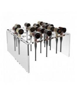 E-253 PPI - Porta pipe in plexiglass trasparente a 35 fori - Misure: 27 x 28 x H14 cm