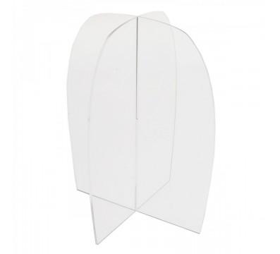 E-255 PAR - Porta parrucche in plexiglass trasparente - Misure: 18x18x H 23 cm.