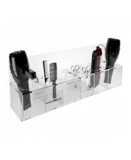 E-257 PAP - Porta attrezzi per parrucchiere in plexiglass trasparente - Misure 56x13x H 20