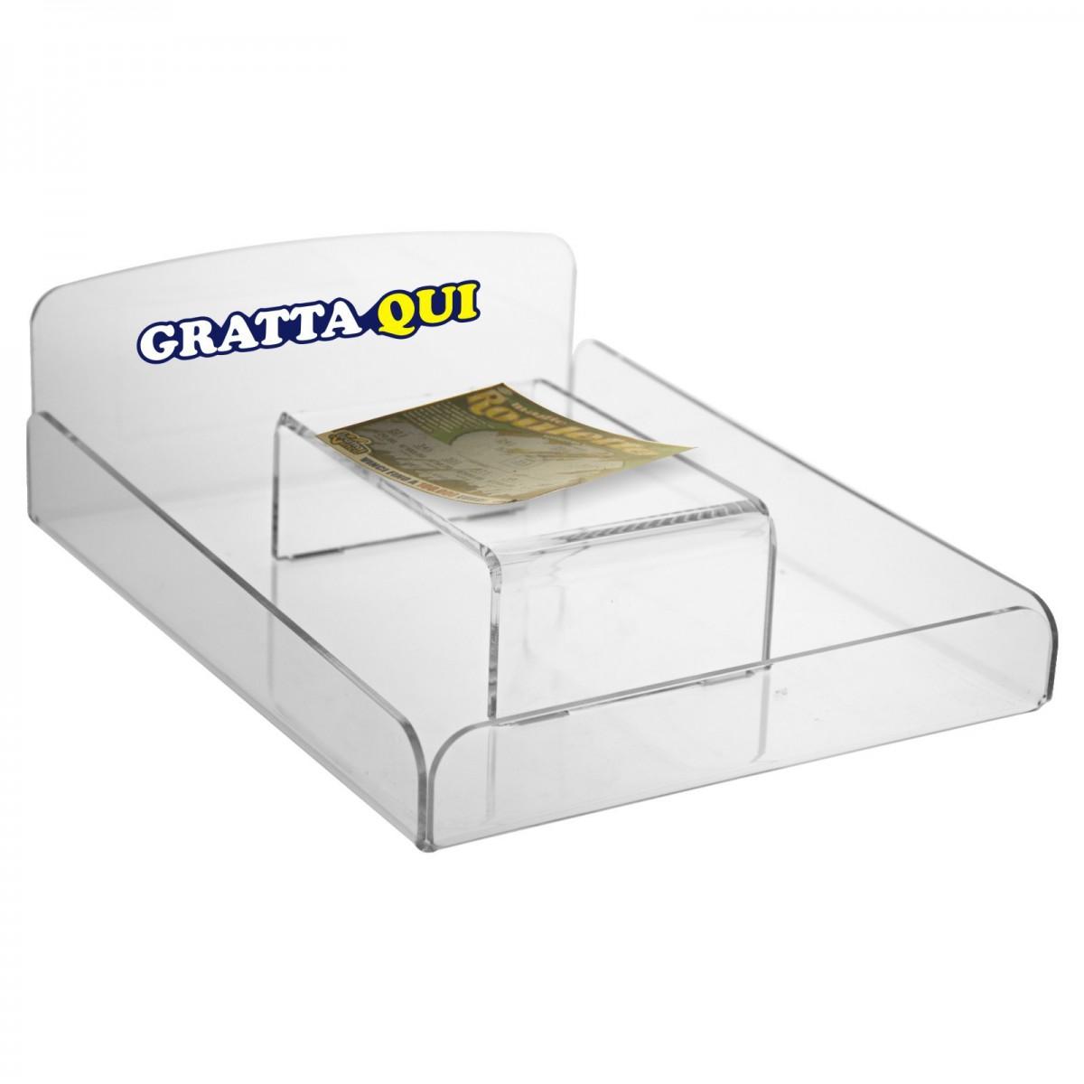 E-288 EGV - Ripiano in plexiglass trasparente per grattare i gratta e vinci - Misure: 23 x 29x H9 cm