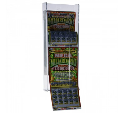 Espositore gratta e vinci da parete in plexiglass trasparente a 1 tasca