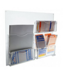E-295 EPS - Espositore schedine da parete in plexiglass trasparente a 8 tasche