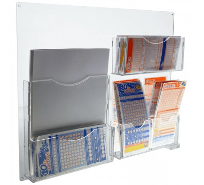 8-Tier acrylic wall-mounted bet slip card holder display Dimensions: 19.69''W x 2.36''D x 16.54''T