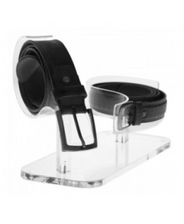 Acrylic belt display - 2 Compartments Dimensions: 11.8''W x 7.09''D x 7.09''T