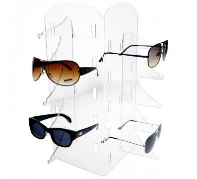 Porta occhiali in plexiglass trasparente a 10 postazioni verticali