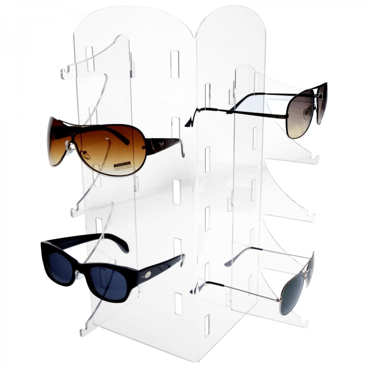 E-325 EPO - Porta occhiali in plexiglass trasparente a 10 postazioni verticali