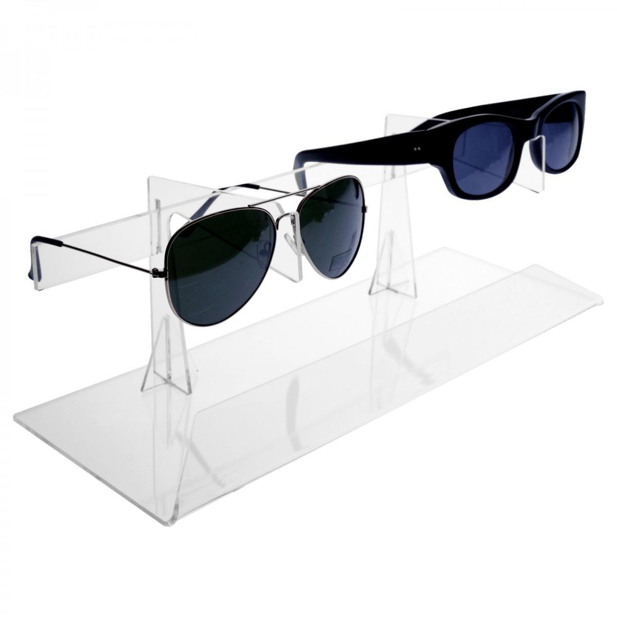 E-329 EPO - Porta occhiali in plexiglass trasparente a 2 postazioni verticali