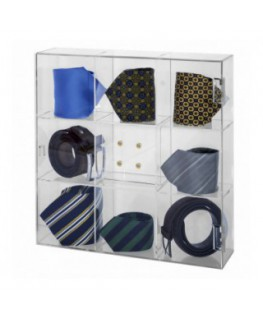 Acrylic tie display case – 9 Compartments Dimensions: 14.57''W x 14.57''D x 3.54''T