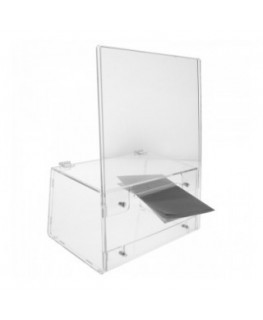 E-344 PCE - Urna da banco in plexiglass trasparente - Misure: 26x13x H 35 cm.