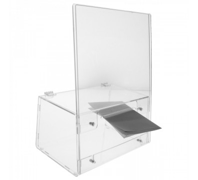 Urna da banco in plexiglass trasparente - Misure: 26x13x H 35 cm.