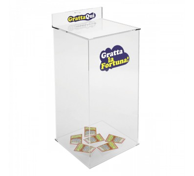 Acrylic wastebasket for scretch and win cards - Tubular Dimensions: 15.75''W x 15.75'' D x 37.4''