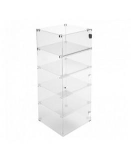 E-355 VET - Ampia vetrina espositiva in plexiglass trasparente a 5 ripiani - Misure: 40 x 40 x h100 cm
