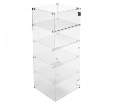 Clear Acrylic display case - 5 shelves Dimensions: 15.75''Wx15.75''Dx39.37''T