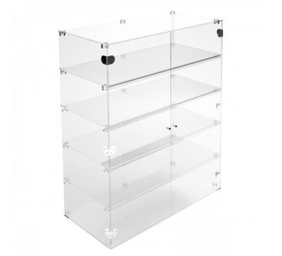 Ampia vetrina espositiva in plexiglass trasparente a 5 ripiani - Misure: 60 x 40 x h100 cm