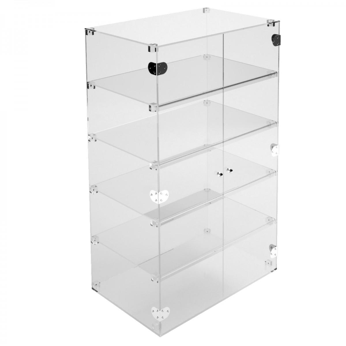 E-357 VET - Ampia vetrina espositiva in plexiglass trasparente a 5 ripiani - Misure: 80 x 40 x h100 cm