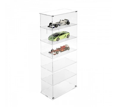 Clear acrylic notice board/display case - Scale of 1:18 – 6 Shelves Overall dimensions: 13.4''Wx7.28''Dx 32.28''T