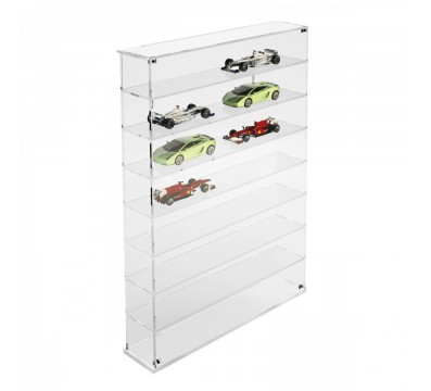 Clear acrylic notice board/display case - Scale of 1:43 – 8 Shelves Overall dimensions: 20.87''Wx4.72''Dx 28.74''T