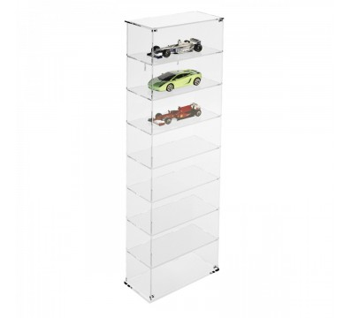 Clear acrylic notice board/display case - Scale of 1:18 – 8 Shelves Overall dimensions: 13.4''Wx7.28''Dx 42.9''T