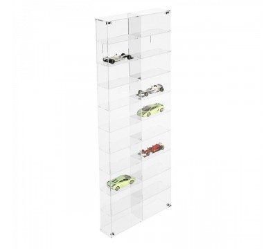 Clear acrylic notice board/display case - Scale of 1:43 – 10 Shelves and 2 compartments Overall dimensions: 12.6''Wx3.15''Dx 32.68''T