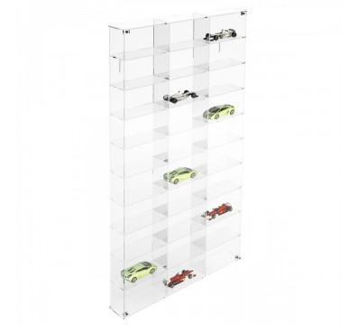 Clear acrylic notice board/display case - Scale of 1:43 – 10 Shelves and 3 compartments Overall dimensions: 18.5''Wx3.15''Dx 32.68''T