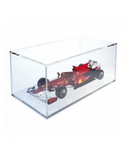 Clear acrylic display case with white base - Scale of 1:18 Overall dimensions: 13.4''Wx7.09''Dx5.51''T