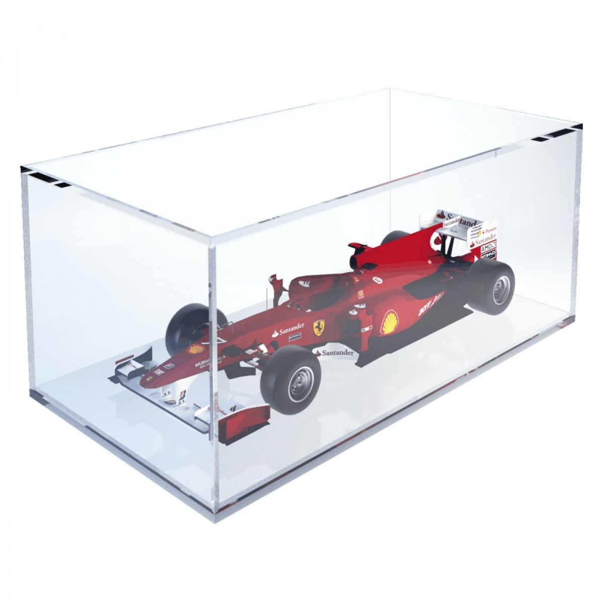 E-373 TEC - Teca espositiva in plexiglass trasparente scala 1:18 con base bianca - Misure totali: 34x18x h14 cm