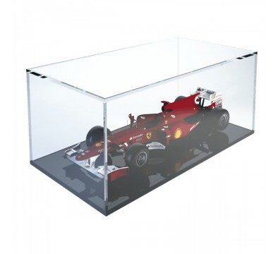 Clear acrylic display case with black base - Scale of 1:18 Overall dimensions: 13.4''Wx7.09''Dx5.51''T