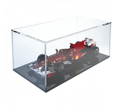 Teca espositiva in plexiglass trasparente scala 1:18 con base nera - Misure totali: 34x18x h14 cm
