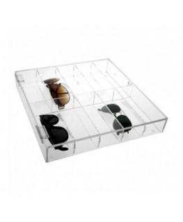 E-383 EPO - Porta occhiali in plexiglass trasparente a 10 scomparti